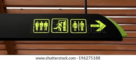 Public icons sign hanging - stock photo
