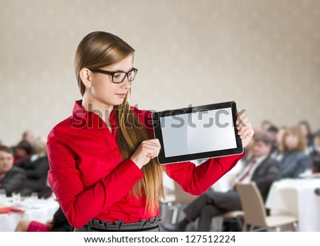 Public indoor business conference for modern managers. - stock photo