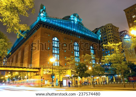 Public Library and State Street at twilight, Chicago, IL, US - stock photo