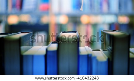 Public library bookshelf seen from inside - stock photo