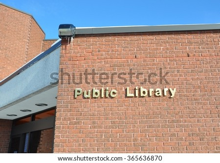 Public library building - stock photo