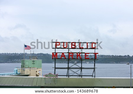 Public Market sign at Seattle fish markets - stock photo