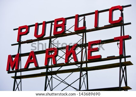 Public Market sign at Seattle fish markets - stock photo