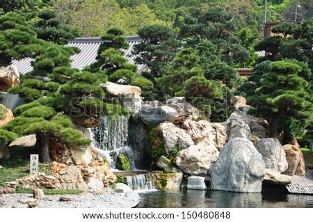 Public Nan Lian Garden, Chi Lin Nunnery, Diamond Hills, Hong Kong. - stock photo