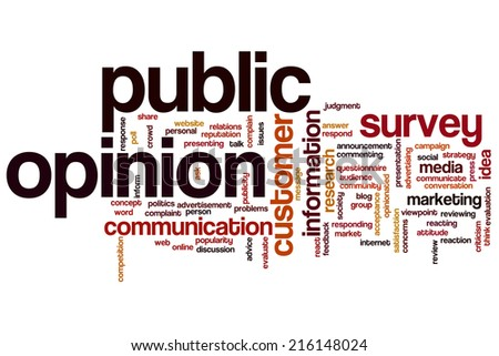 Public opinion concept word cloud background - stock photo