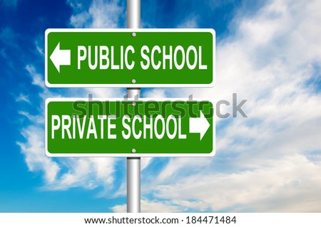 Public or Private School Green Road Sign  - stock photo