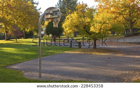 Public park in Autumn colors Gresham OR. - stock photo