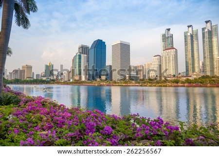 Public Park in city center with river and nature at Bangkok Thailand
