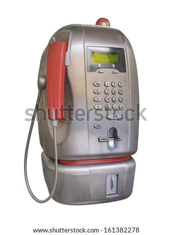 Public pay telephone isolated on white. Clipping path included.