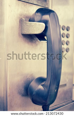 Public Phone,Vintage Style - stock photo