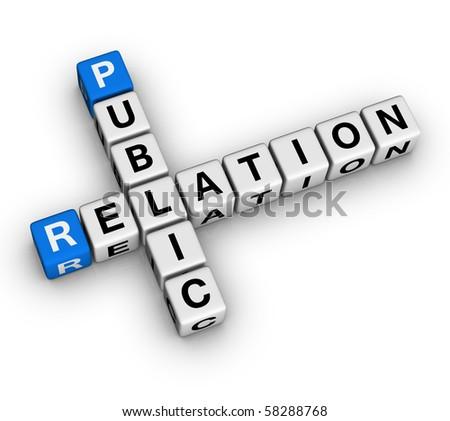 Public Relation (blue-white cubes crossword series) - stock photo