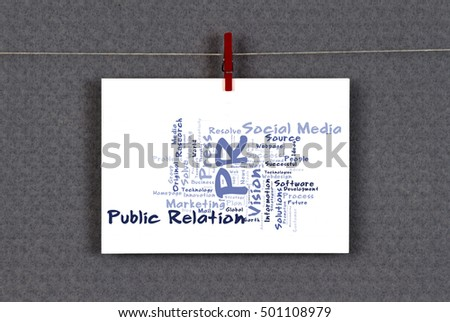 Public relation word cloud on business stock photo royalty free public relation word cloud on a business card pinned up on a board reheart Choice Image