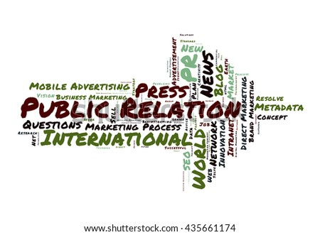 Public Relation word cloud shaped as a arrow