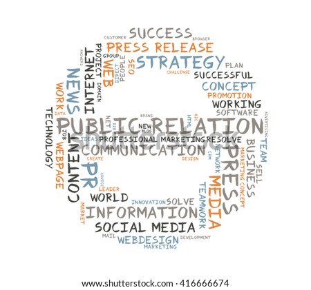 Public Relation word cloud shaped as a circle