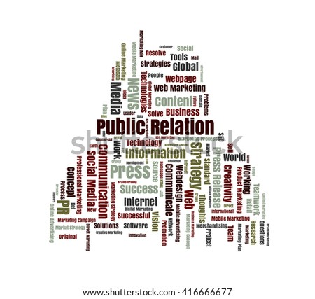 Public Relation word cloud shaped as a human body