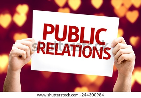 Public Relations card with heart bokeh background - stock photo