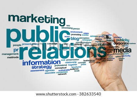 Public relations word cloud concept with marketing communication related tags - stock photo