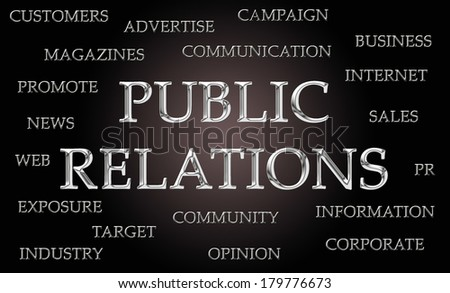 Public Relations word cloud written in luxurious chrome letters