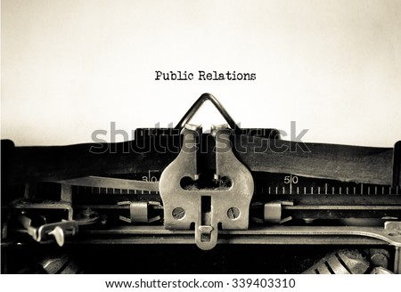 Public Relations word typed on a Vintage Typewriter.  - stock photo