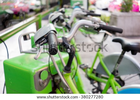 Public rental bicycles in Bangkok, Thailand. For clean transportation and healthy