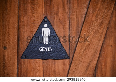 Public restroom sign for male - stock photo