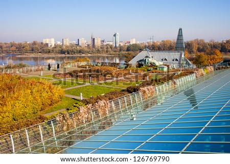 Public roof garden of Warsaw University Library in Poland, Vistula river and Prague district in the background. - stock photo