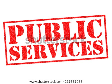 PUBLIC SERVICES red Rubber Stamp over a white background. - stock photo