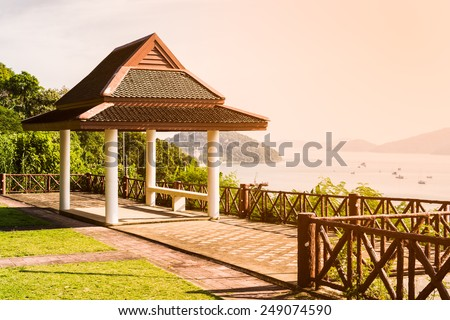 Public shelter at view point under warm sunlight