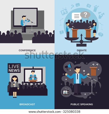 Public speaking design concept set with conference debate broadcast flat icons isolated  illustration - stock photo