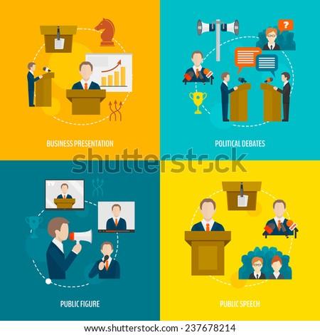 Public speaking flat icons set of business presentation political debates figure speech isolated  illustration - stock photo