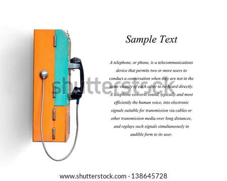 public telephone coin in Thailand isolated on white with clipping path - stock photo