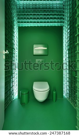 Public toilet in a modern loft style. Minimalism, toilet, brush, trash. The walls are sewn welded iron fittings, colored green. - stock photo