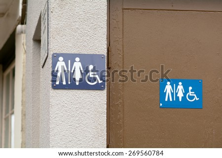 Public toilet signs - for use by men, women and disabled persons