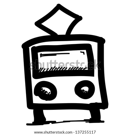 Public transport pictogram. Hand drawing sketch illustration