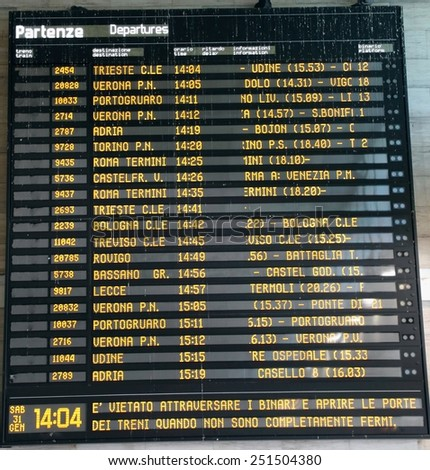 Public transport timetable at a rail station in Italy - stock photo