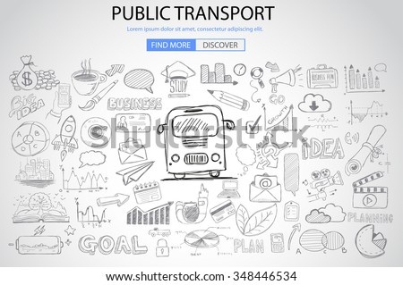 Public Transports concept wih Doodle design style :best routes, users satisfactions, gas saving. Modern style illustration for web banners, brochure and flyers. - stock photo