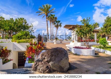 Public tropical gardens in Puerto de la Cruz, Tenerife, Canary Islands, Spain - stock photo