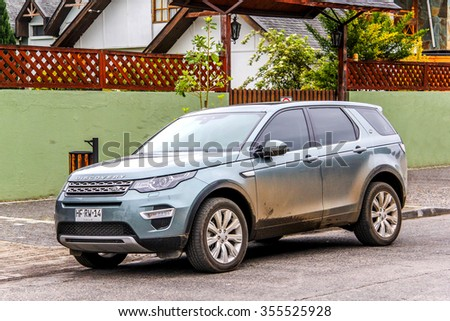 PUCON, CHILE - NOVEMBER 20, 2015: Motor car Land Rover Discovery Sport at the town street.