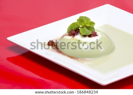 pudding matcha tea and ricotta mousse