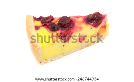 Pudding or cake with sour cherry and custard, isolated on white.