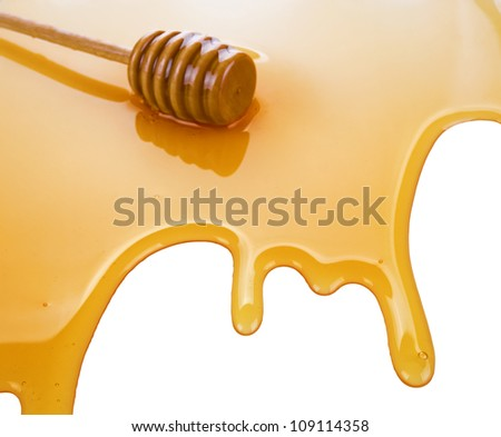 puddle of honey with wooden stick isolated on white background - stock photo