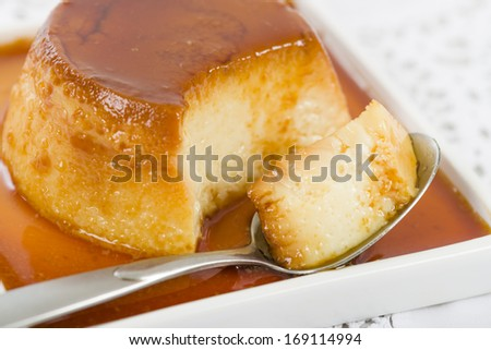 Pudim de Leite - Brazilian flan made with milk and condensed milk, topped with caramel sauce.