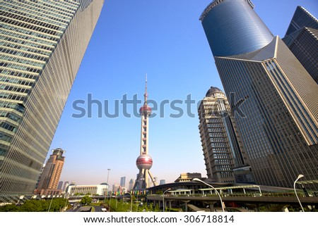 Pudong area skyline with urban skyscrapers, Shanghai, China - stock photo