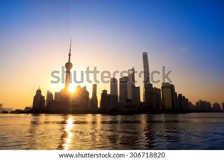 Pudong skyline at sunrise, Shanghai, China - stock photo