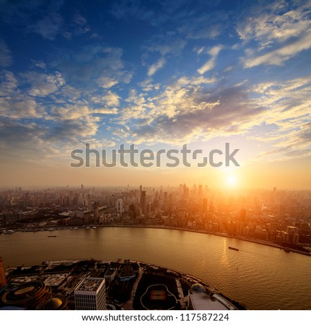 Pudong skyline at sunset, Shanghai, China - stock photo