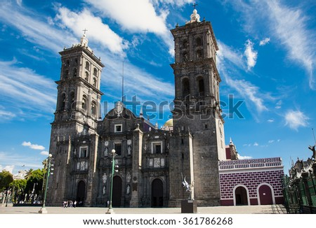 Puebla Cathedral  in Mexico. It is a Roman Catholic colonial cathedral consecrated in 1649. It is a major landmark in the city - stock photo