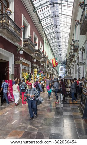 PUEBLA DE ZARAGOZA, MEXICO - DECEMBER 28, 2015: Street in the one of the five most important Spanish colonial cities in the country. Famous history and architectural styles.