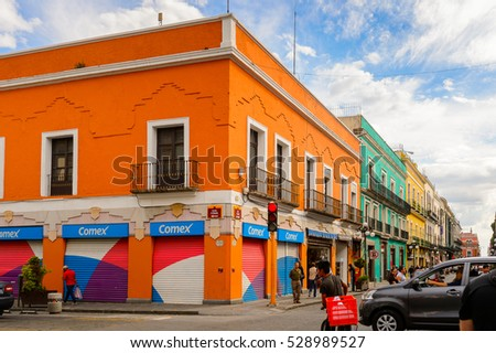 PUEBLA, MEXICO - OCT 30, 2016: Architecture of historic centre of Puebla, Mexico. The city was founded in 1531 in an area called Cuetlaxcoapan