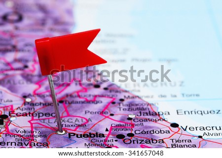Puebla pinned on a map of Mexico  - stock photo