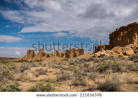 Pueblo Bonito at the Chaco Culture National Historical Park in New Mexico - stock photo